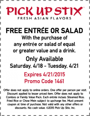 PickUpStix.com Promo Coupon Second entree or salad free today at Pick Up Stix Fresh Asian