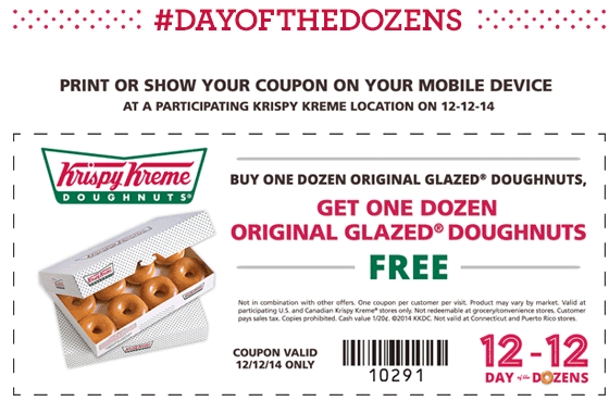 Krispy Kreme Coupon January 2015 Second dozen doughnuts free the 12th at Krispy Kreme