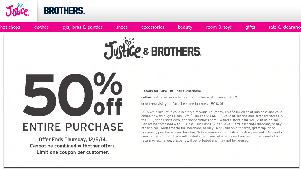 Justice coupon codes