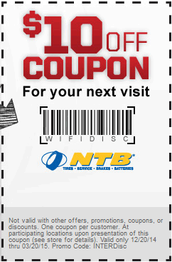 NationalTireandBattery.com Promo Coupon $10 off at National Tire and Battery