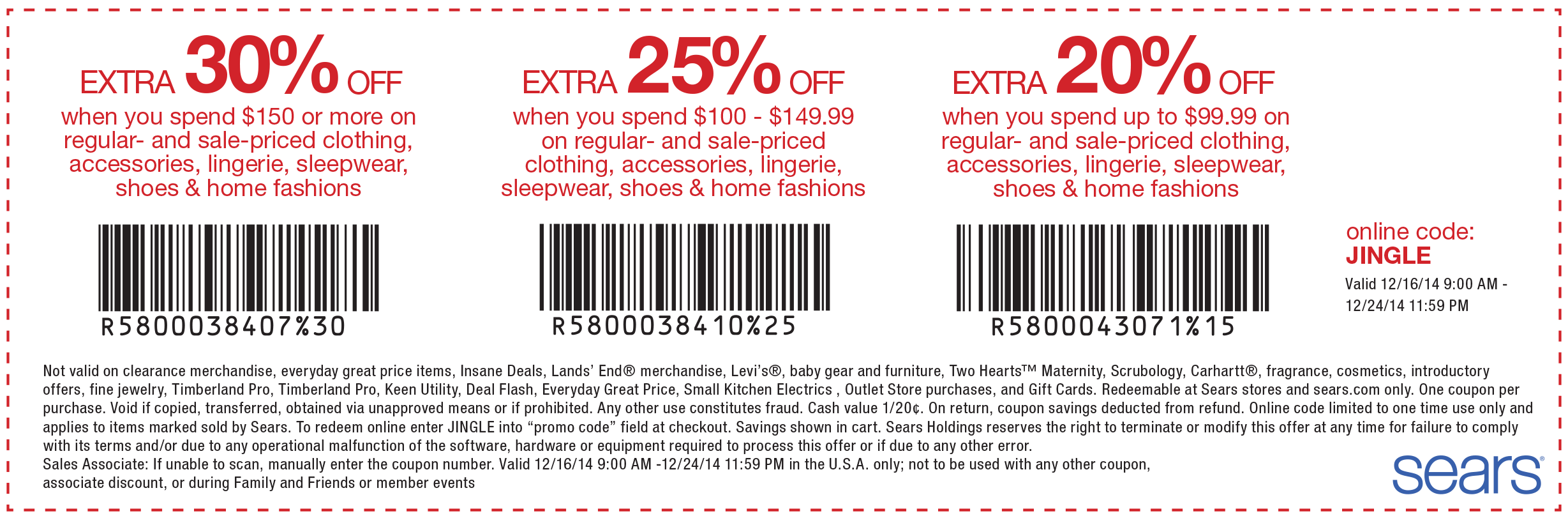 Coupon codes sears