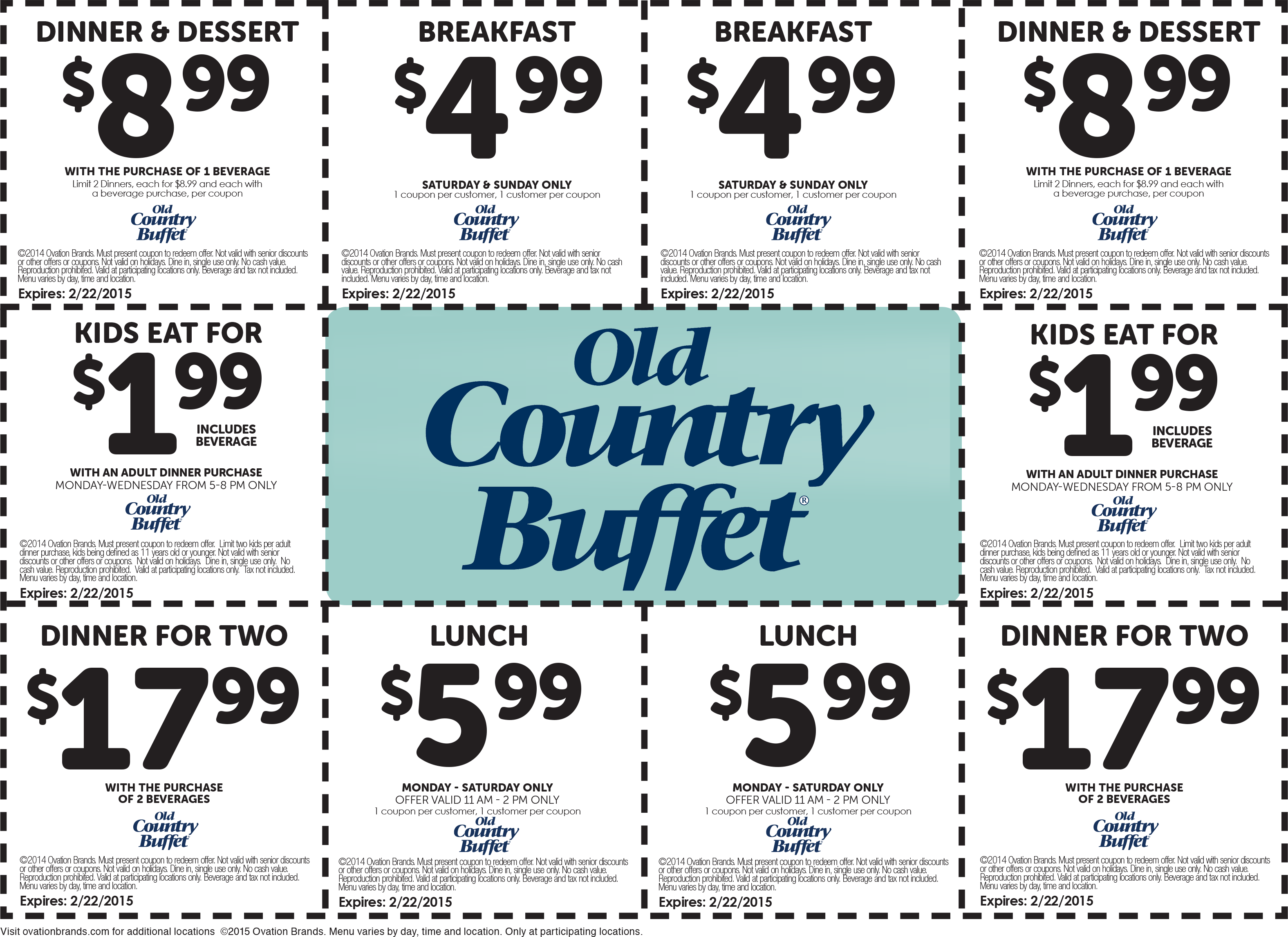 The best coupon we've seen recently from Old Country Buffet was 15% off 15% and it's available now 2, Old Country Buffet coupons were printed by our users last year. were printed last month.