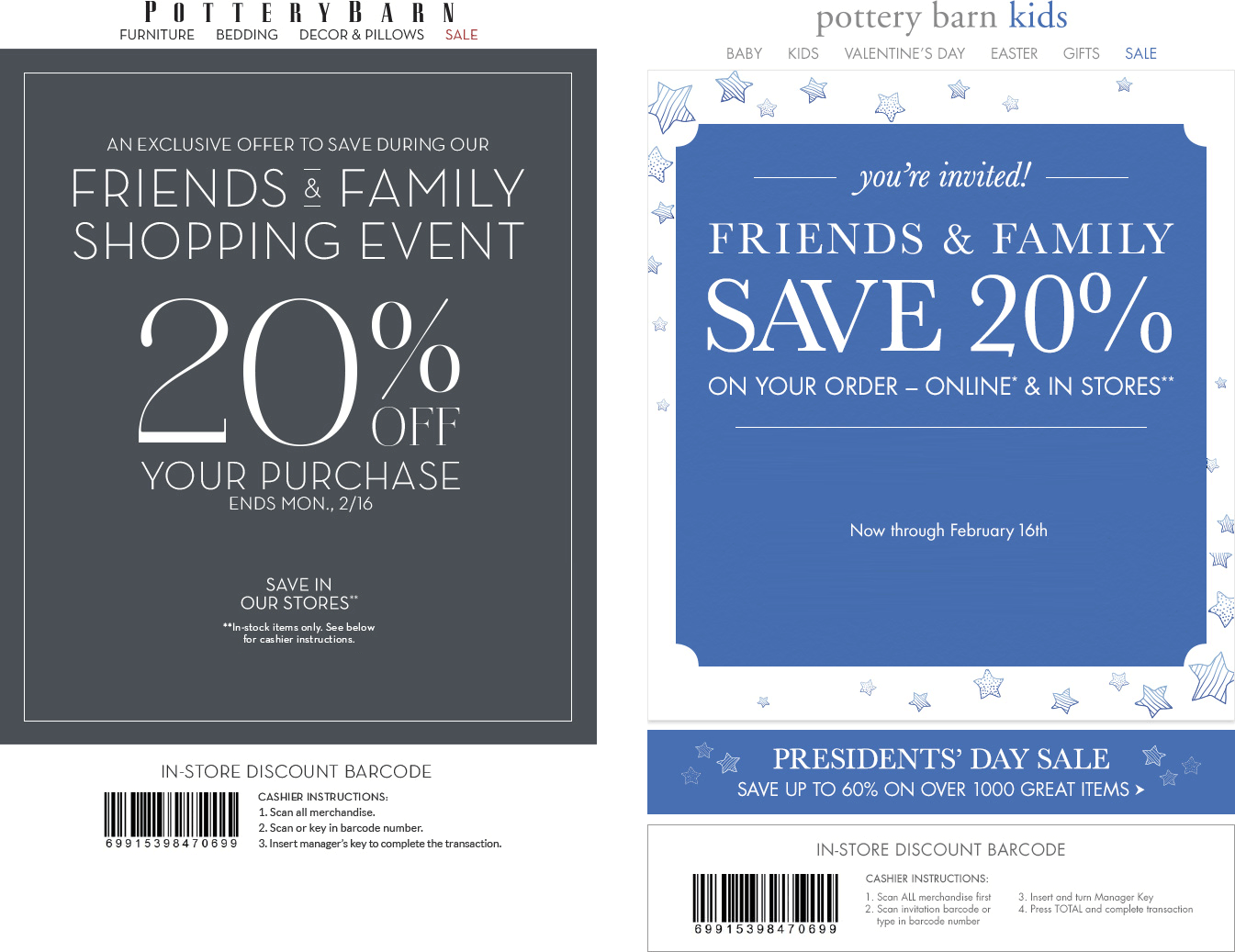 Pottery barn discount coupon codes