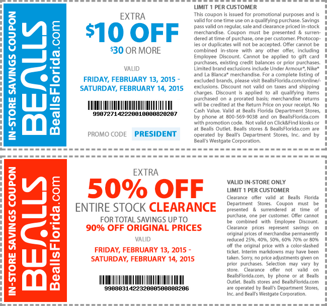 Bealls Bucks have no cash value and can be redeemed in-store only at Bealls Stores. Bealls Bucks must be presented and surrendered at time of purchase; any remaining balance will be forfeited. Bealls Bucks cannot be earned on purchases of gift cards or applied to prior purchases, gift cards, taxes or existing Bealls Florida credit balances.