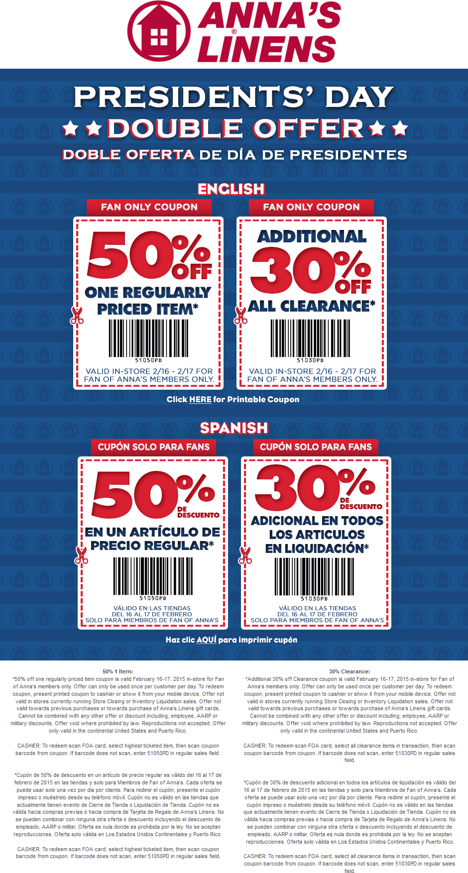 AnnasLinens.com Promo Coupon 30% off clearance & 50% off a single item at Annas Linens