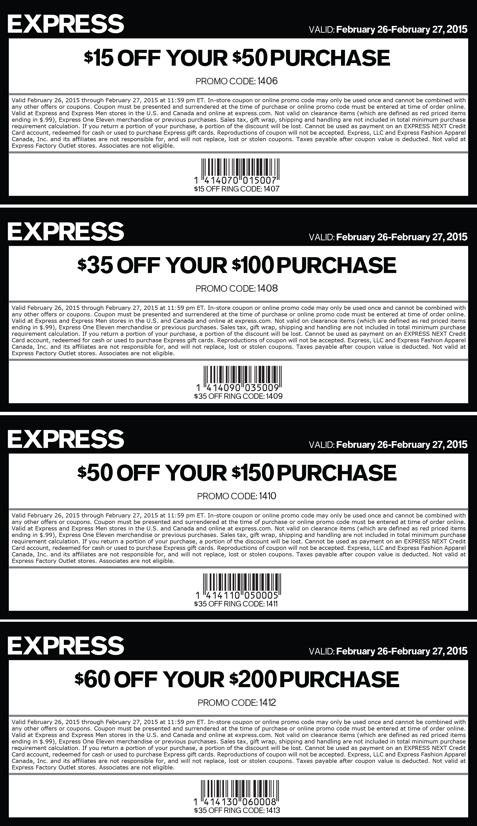 Express coupons free shipping discounts