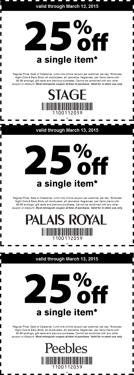 Peebles.com Promo Coupon 25% off a single item at Stage, Peebles, Palais Royal