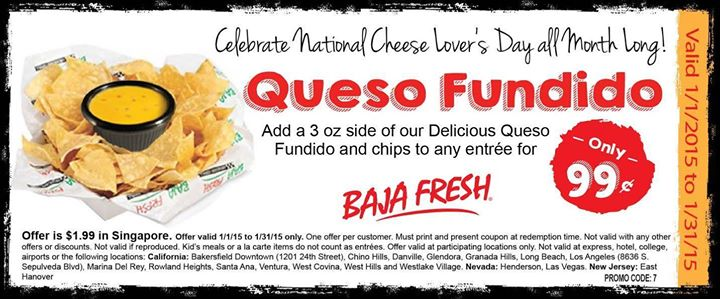 BajaFresh.com Promo Coupon Chips & queso for a buck all month at Baja Fresh