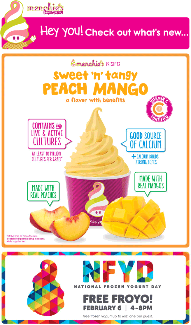 Menchies.com Promo Coupon Free frozen yogurt the 6th at Menchies