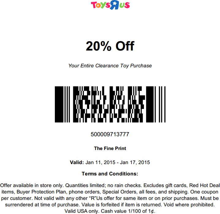image relating to Toys R Us Coupons in Store Printable referred to as Toys r us coupon codes 20 off - Cell resort offers