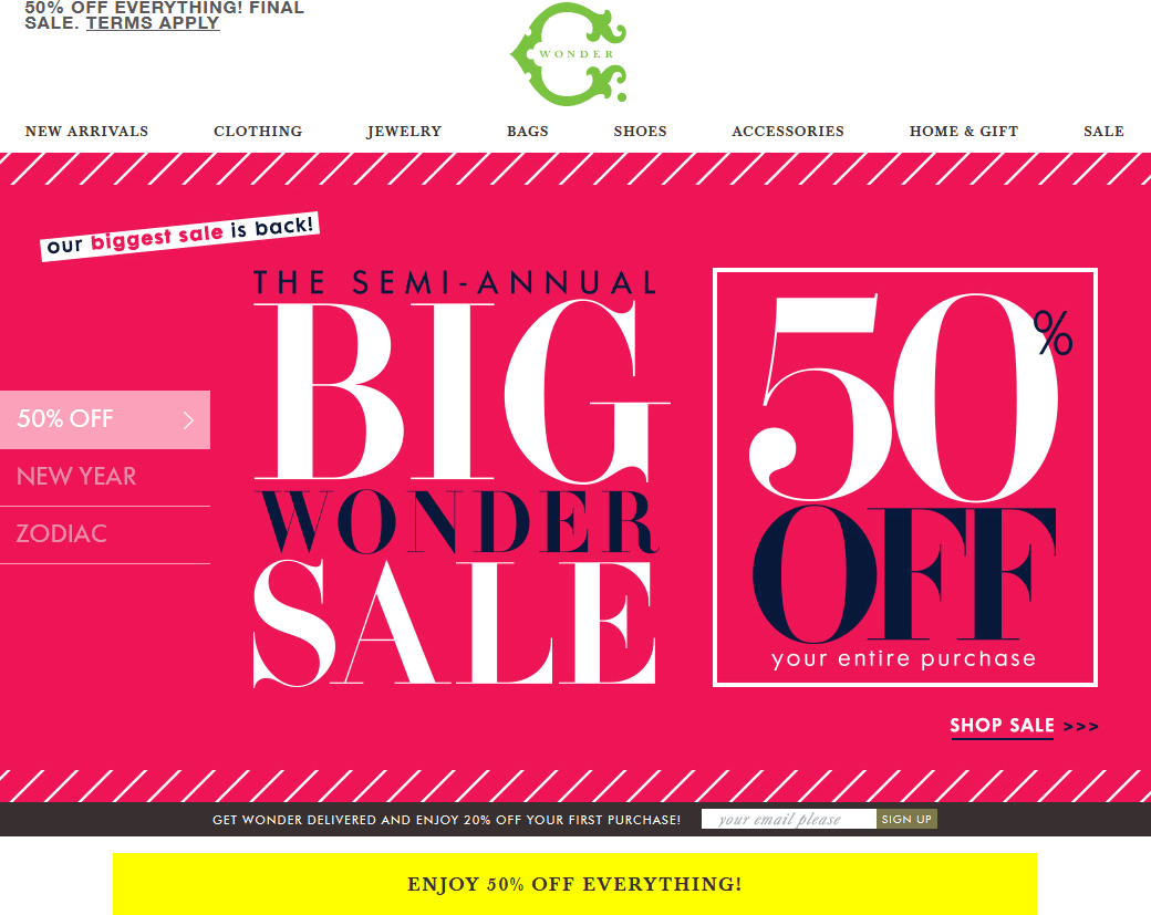 C.Wonder.com Promo Coupon Going out-of-business 50% off everything at C. Wonder