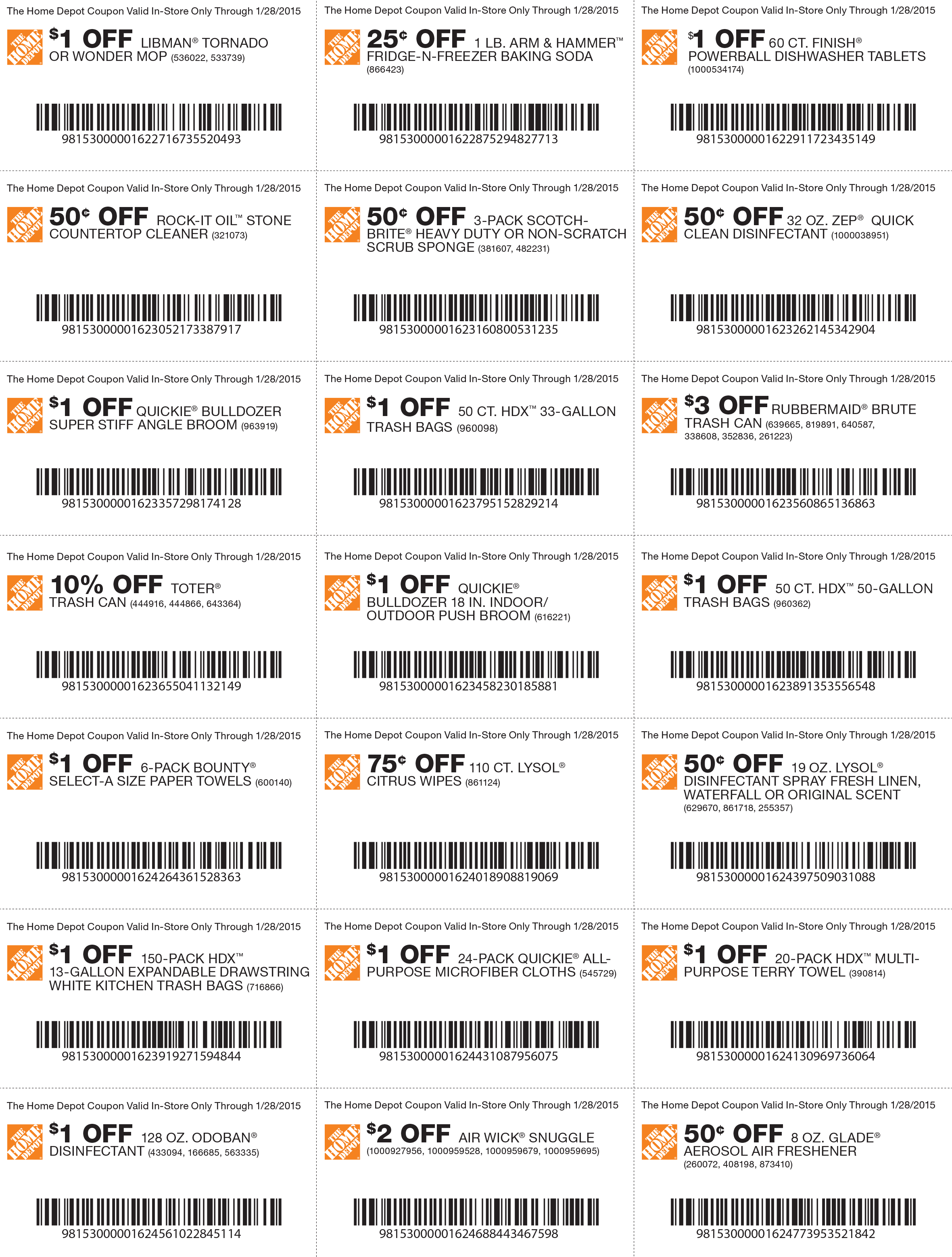 Home Depot Coupons - Various savings on cleaning products at Home ...