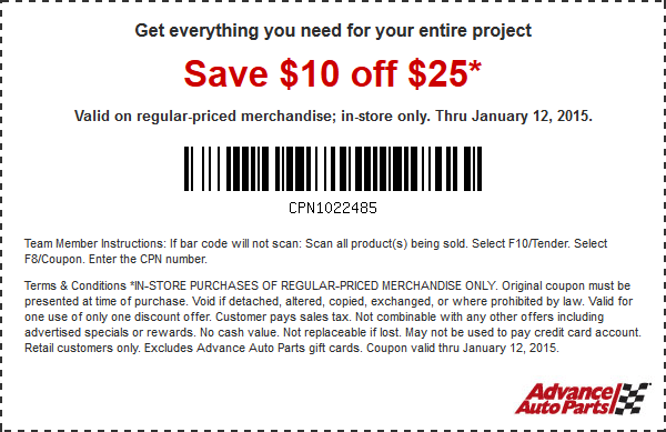 Advance auto coupon codes
