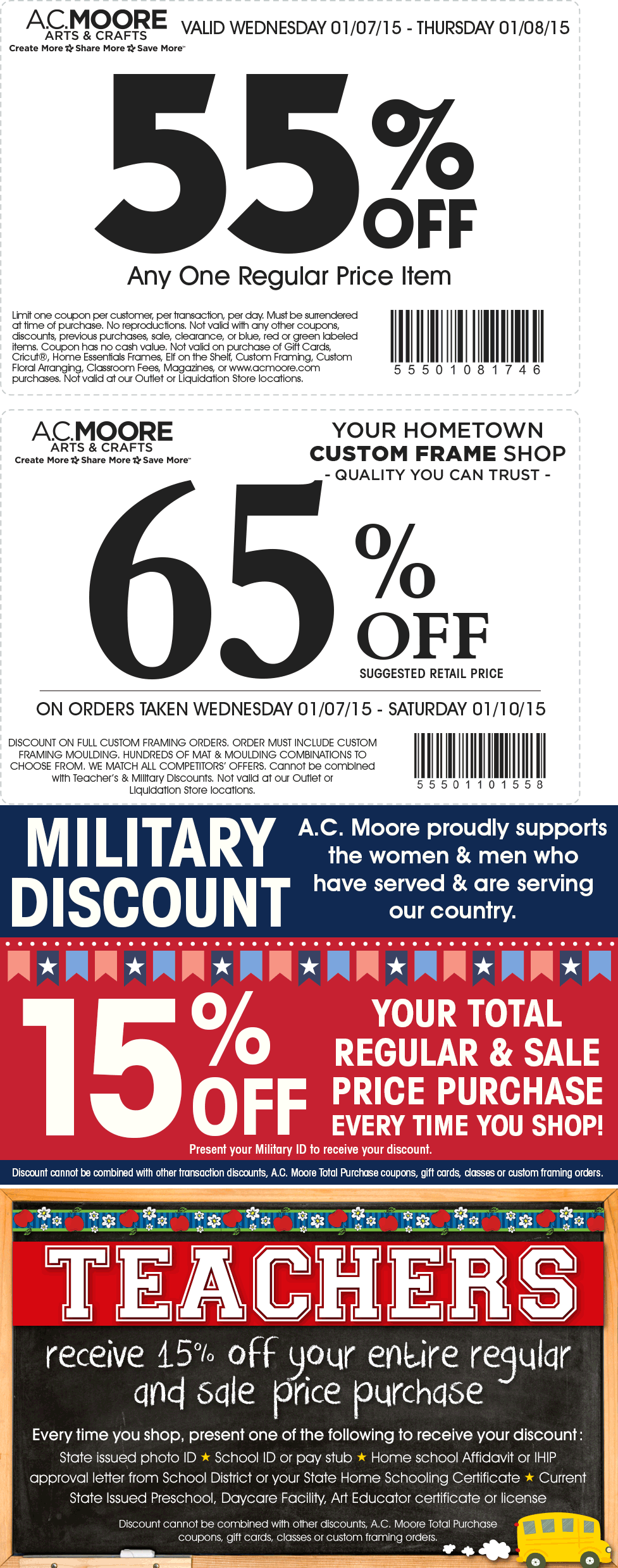 A.C.Moore.com Promo Coupon 55% off a single item & 15% off for teachers and military at A.C.Moore
