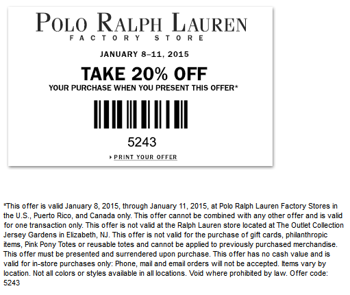 PoloRalphLaurenFactory.com Promo Coupon Extra 20% off at Polo Ralph Lauren Factory locations