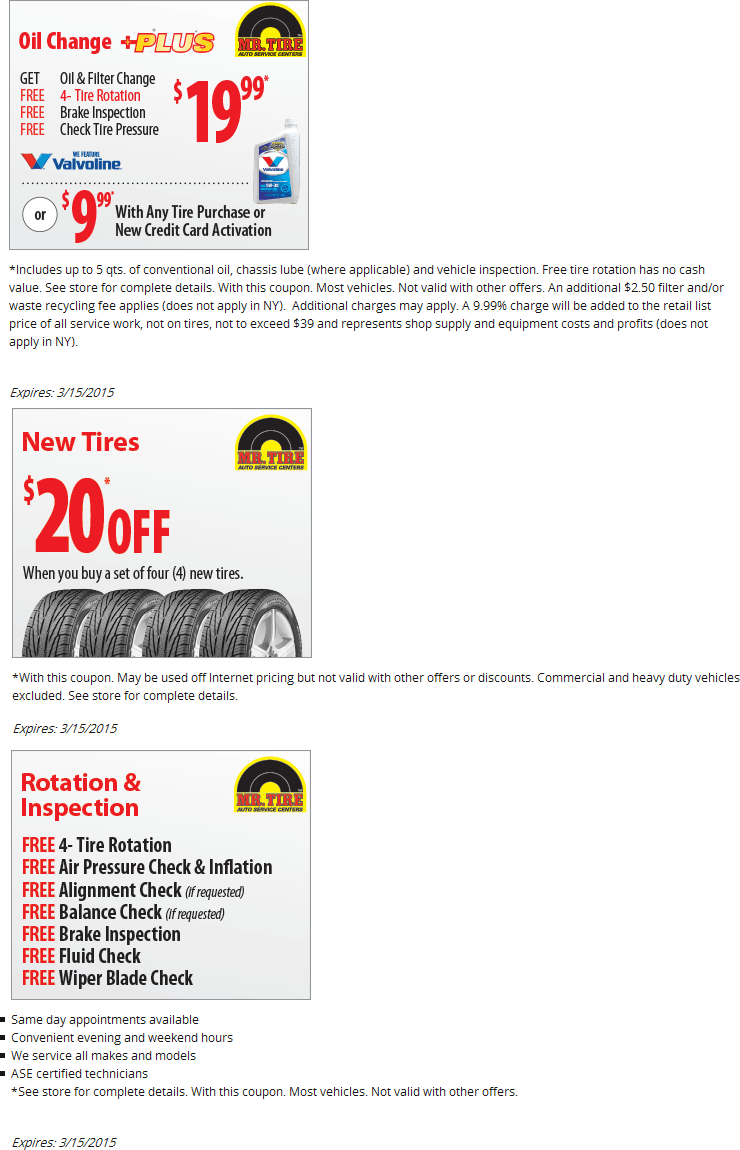 Mr tire coupons discounts