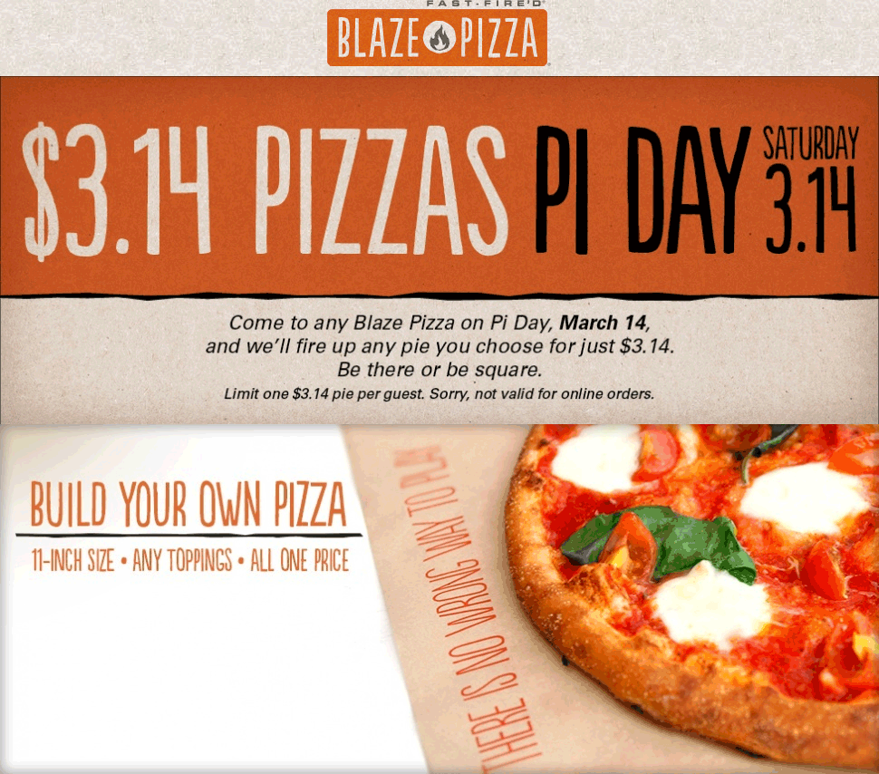 blaze pizza coupons 3 pizzas saturday at blaze pizza. Black Bedroom Furniture Sets. Home Design Ideas