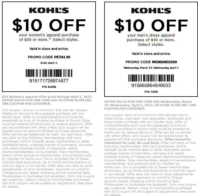 Kohl's $10 off coupon code