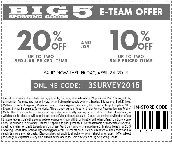 Big 5 coupons 2018
