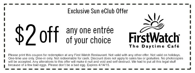FirstWatchCafe.com Promo Coupon $2 off any entree at FirstWatch cafe