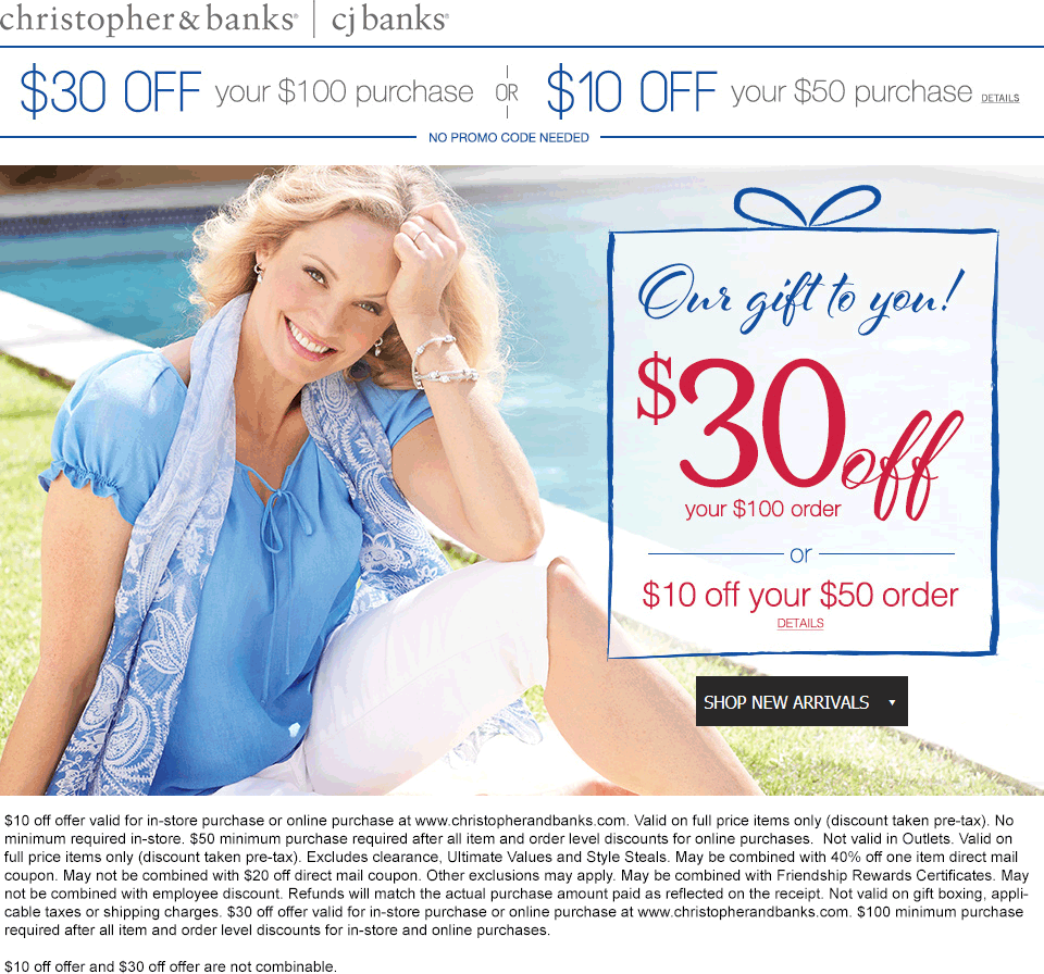 Christopher&Banks.com Promo Coupon $10 off $50 & more at Christopher & Banks, ditto online
