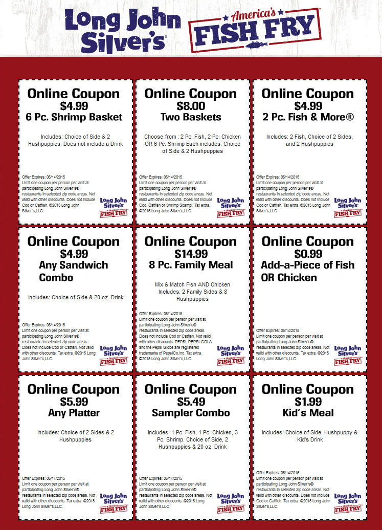 graphic regarding Long John Silvers Printable Coupons identified as Extensive john silver coupon : Ontario winter season holiday seasons