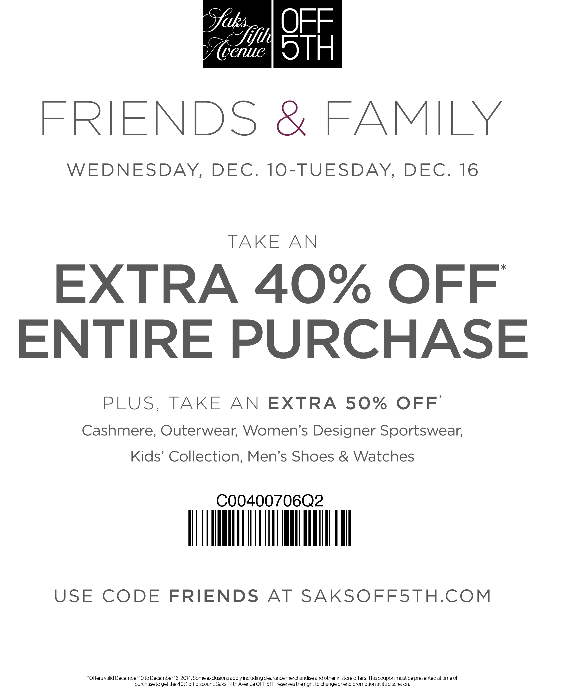saks fifth avenue coupon code 10 off