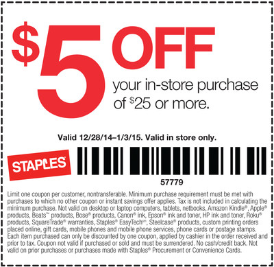 image regarding Staples Coupons Printable called Staples 5 off 25 printable coupon / Lender of the usa latest