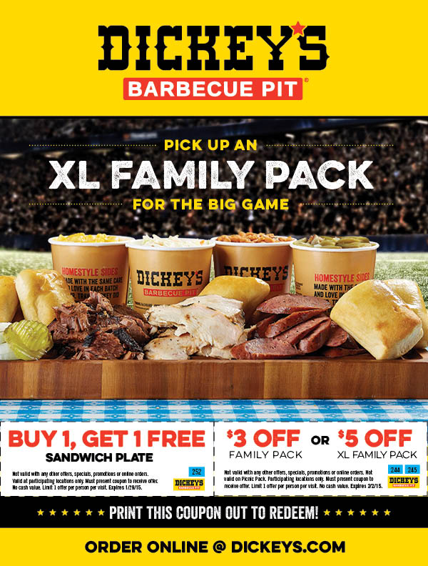 Take a look at our 4 Dickey's BBQ discount codes including 4 sales. Most popular now: Order Online & Skip the Line. Latest offer: Order Online & Skip the Line.